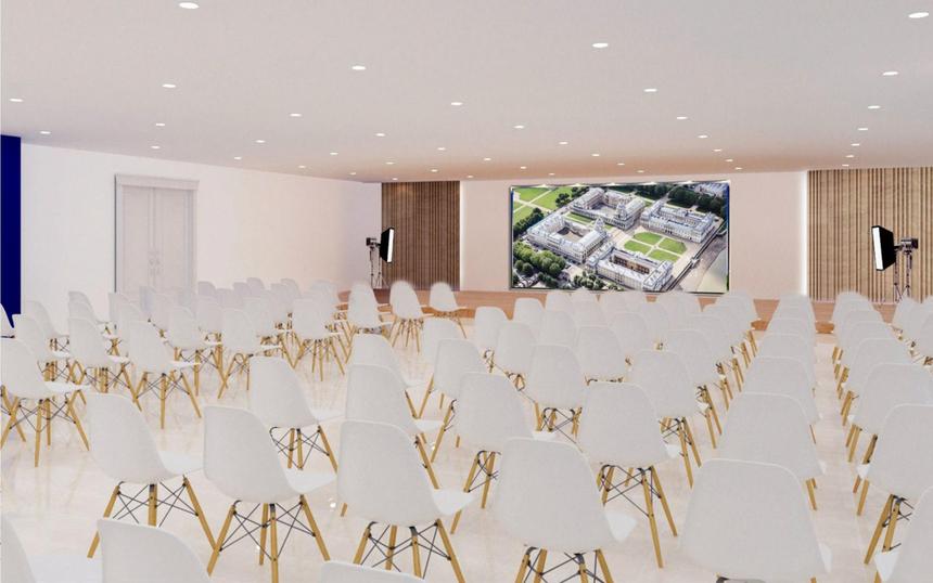 Hội trường cho các sự kiện, hội thảo, workshop và talk show... được trang bị âm thanh, màn hình cỡ lớn.