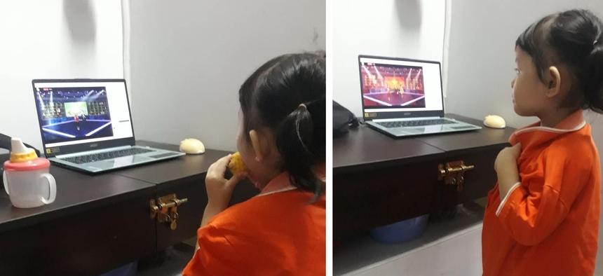 """<p class=""""Normal""""> Chị Thắm Nguyễn chia sẻ hình ảnh đáng yêu của cô con gái nhỏ đã dậy sớm """"tranh thủ gặm bắp"""" và mặc chiếc áo cam để tham dự sinh nhật FPT 33 năm.</p>"""