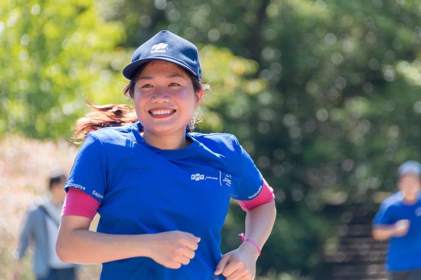<p> Tác giả Vũ Văn Lâm ghi lại nụ cười người FPT Japan trong sự kiện Run For Green 2019.</p>